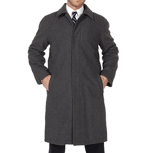 Alpine Swiss Zach Mens Wool Trench Coat Knee Length Overcoat Gray Lrg