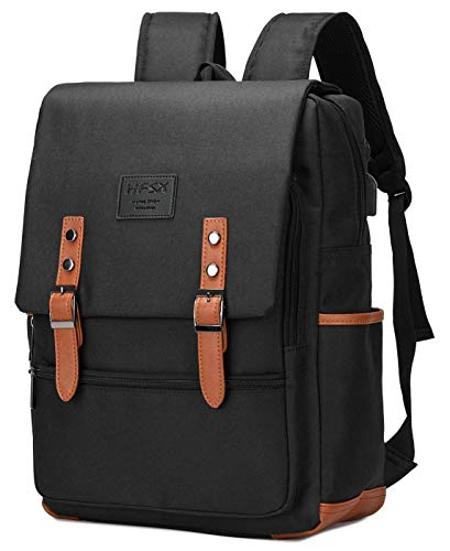 (HFSX Vintage Laptop Backpack for Women Men School College Backpack with USB Charging Port Fashion Backpack Fits 15.6 inch Notebook Black)