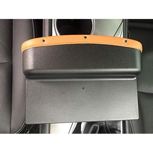 Car Seat Gap Filler Premium PU Full Leather Seat Console Organizer Car Interior Accessories Car Pocket Organizer Car Seat Steam Side Drop Stop Catcher Garbage bin with Non-Slip Mat Brown