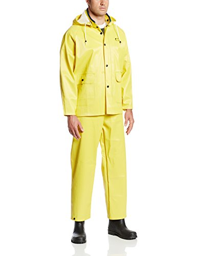 ONGUARD 76017 3-Piece PVC on Polyester Webtex Suit with Detachable Hood, Yellow, Size Large