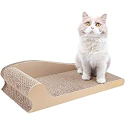 Vivaglory Cat Scratching Pad Corrugated Cardboard Scratcher Sofa, Kitty Scratch Toy Lounge Couch Bed, Beige