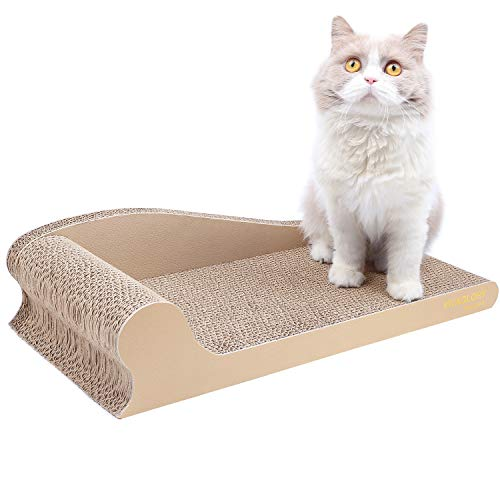 (Vivaglory Cat Scratching Pad Corrugated Cardboard Scratcher Sofa, Kitty Scratch Toy Lounge Couch Bed, Beige)
