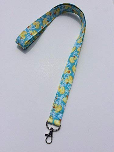 Rubber Duck Lanyard ID Badge Key Keeper Keychain Camera Strap Fabric Rubber Ducky Yellow and Blue Bubbles ()
