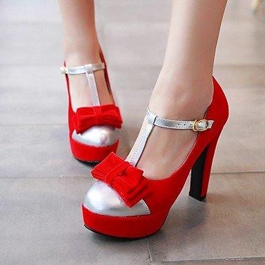 fiesta de las hebilla zapatos tacón y microfibra Club de los Verano Primavera Talones de grueso del de Negro Bowknot noche casual Rojo Otoño mujeres Red qH5Onf50xw