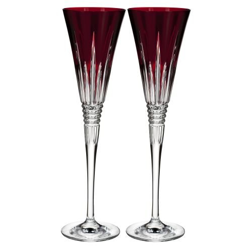 Waterford Lismore Diamond Toasting Flute Pair Red