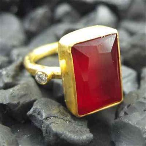 Ancient Design Handmade Hammered Designer Ruby Ring 22K Gold Over 925K Sterling Silver ()
