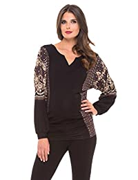 OLIAN Maternity Women's Arabesque Print Camila Tunic Top Small Black