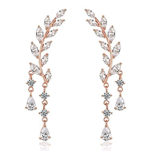 Odette Rose Gold Plade Sweep Up Ear Cuffs Climbers Stud Set Drop Dangle Pierced Earrings Leaf (Special Occasion Gifts)