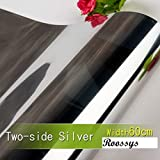 Roossys 5Mets Length Frosted PVC Sheet- One Way Film Window Glass Screen Home Interiors Privacy Screen-Self Adhesive Window Frost Film Sticker- Window Glass Film Privacy (60cm Width, Two-Side Silver)