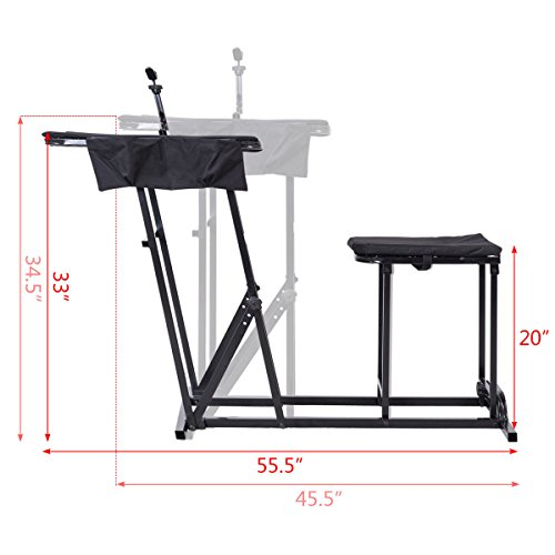 Folding Shooting Bench Seat with Adjustable Table Gun Rest Height Adjustable by BUY JOY (Image #6)