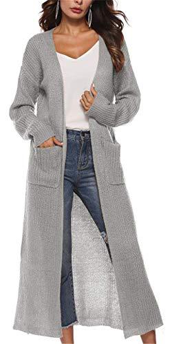 YOGLY Cardigan Femme Long en Maille Manches Longues Pull Gilets Lache Chandail en Tricot Outwear Manteau en Pull Gris