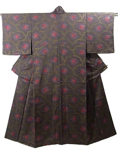 医療過誤デンプシーマイクロプロセッサリサイクル 着物  小紋 優美 薔薇の花模様 正絹 袷 裄65cm 身丈155cm
