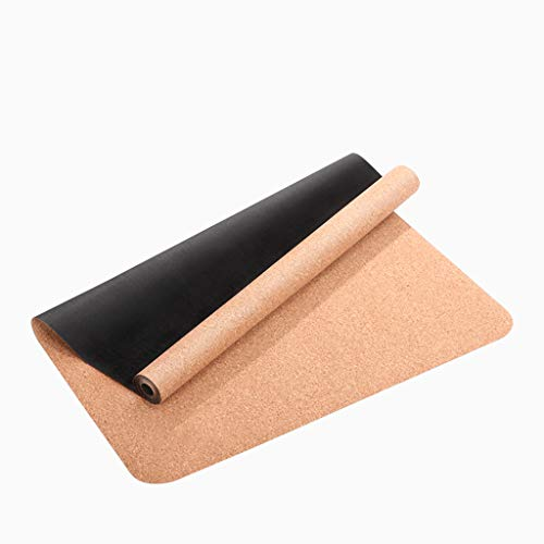 DLJFU – Yoga mats Natural Rubber Large Padded Yoga Mat with Carry Handle for Pilates,Environmentally Friendly Cork Non-slipNon-Toxic Sports Mat 180X66cm