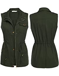 Women's Sleeveless Turn Down Collar Zip up Drawstring Jacket Vest with Pockets