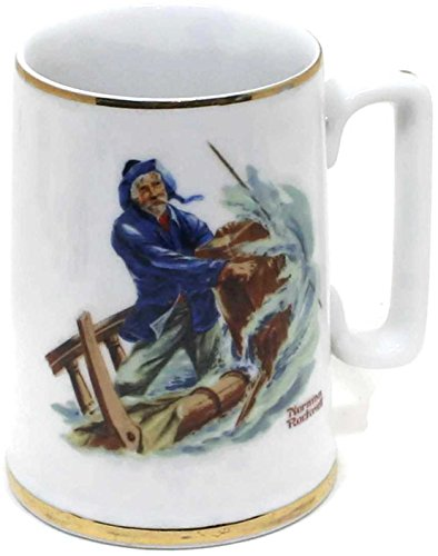Norman rockwell Braving The Storm Mug with 24K Gold Trim