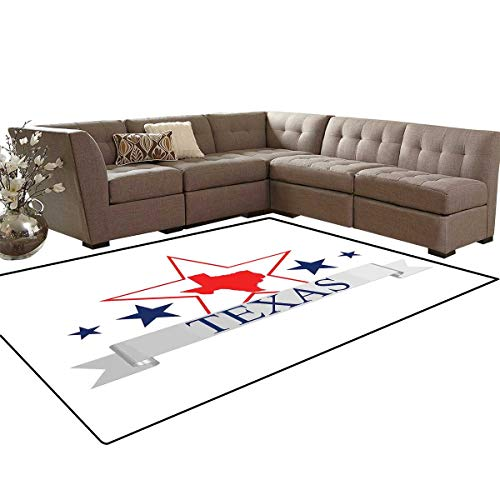 (Texas Star Anti-Skid Area Rugs San Antonio Dallas Houston Austin Map with Stars Pattern USA Customize Door mats for Home Mat 6'x8' Navy Blue Vermilion Pale Grey)