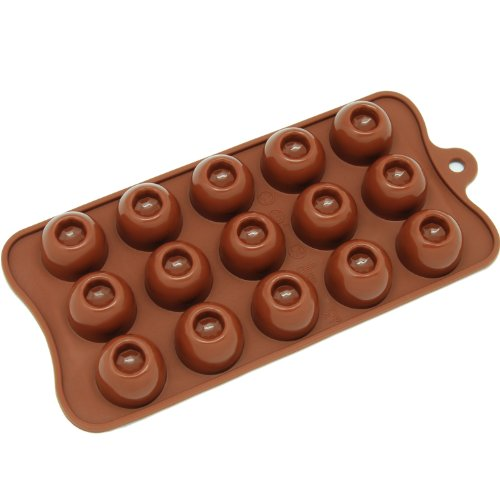 Freshware CB-611BR 15-Cavity Silicone Dimpled Round Chocolate, Candy and Gummy Mold