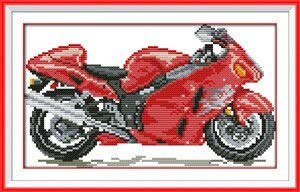 DIY Needlework Patchwork Accessories Motorcycle and Bubble Car2! Counted Free Cross Stitch Sets for Embroidery Knitting Needles