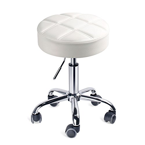 Leopard Round Rolling Stools, Adjustable Work Medical Stool with Wheels (Small, White)
