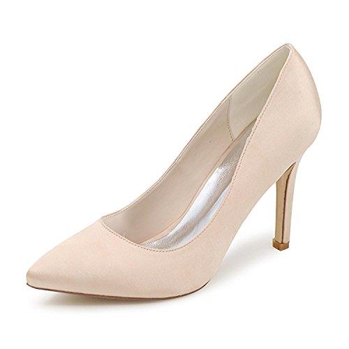 Ballet Zapatos Y Tarde yc Las Comodidad L 01 Altos Multicolor Partido Mujeres La Champagne Talones Los Satén 0608 Boda De Del aw0vxq5f