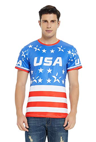 (DAWILS Mens American Flag T-Shirt Patriotic Vintage Shirts Hipster Short Sleeve Hip Hop Tee Shirt (X-Large, American Flag 2))