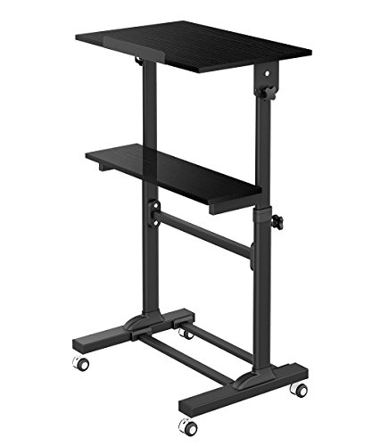 ProHT Mobile Height Adjustable Sit-Stand Desk(05468A) - Ergonomic Multi-Purpose Stand-up Laptop Desk Cart - Rolling Computer Workstation cart w 2 Platforms - Max.Load Capacity 88lbs - CARB Certified