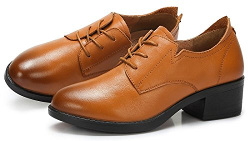 Block Shoes Leather Burnished Oxford up CROWN CAMEL Toe Genuine Women's Lace Round Tan Heel WqnpBw7zpx