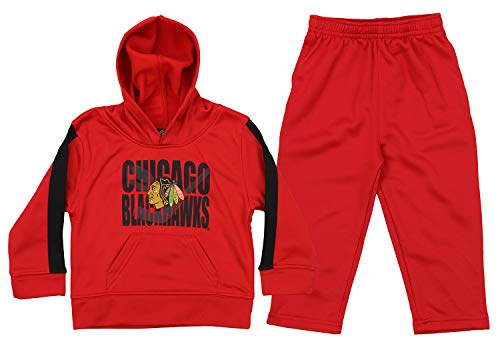 Outerstuff NHL Infant & Toddler (12M-4T) Chicago Blackhawks Performance Fleece Hoodie and Pant Set, Red 2T ()