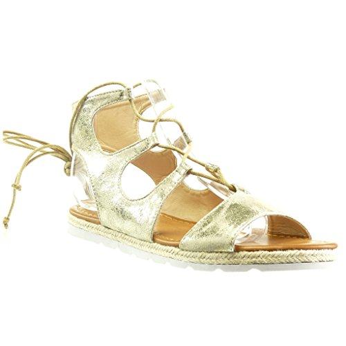 Angkorly - Chaussure Mode Sandale Espadrille ouverte effet vieilli semelle basket femme brillant lacets corde Talon plat 1.5 CM - Or
