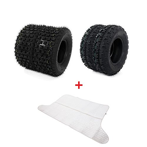4Ply ATV Tires Front 21X7-10 & Rear 20X10-9, Set of 4(Come with Car Sunlight Snow Shield Matte Black)
