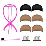#10: ZUER Wig Caps (6 Pack/Black & Neutral Nude Beige) with Portable Wig Stand, Gentle Edges Brush and Wig Combs