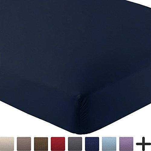 Fitted Bottom Sheet Premium 1800 Ultra-Soft Wrinkle Resistant Microfiber, Hypoallergenic, Deep Pocket (Twin, Dark Blue)