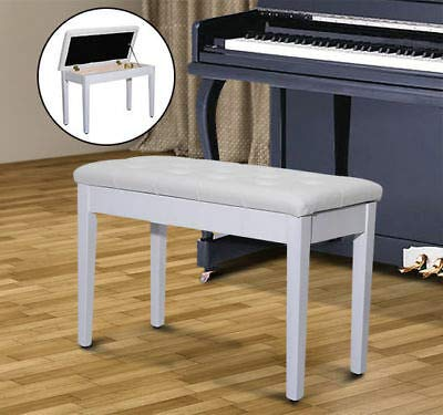 PU Leather Piano Bench Padded Double Duet Storage Upholstered Seat White