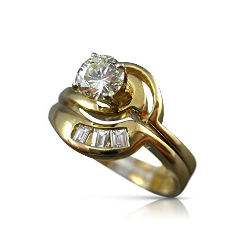 (Milano Jewelers .59CT ROUND & BAGUETTE DIAMOND 14KT TWO TONE GOLD 3D ENGAGEMENT RING #240)