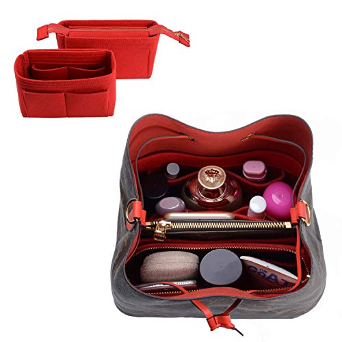 - Purse Organizer,Bag Organizer,Insert purse organizer with 2 packs in one set fit LV NeoNoe Noé Series perfectly (Red)