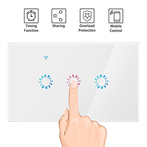 Smart Wi-Fi Light Switch, 3 Gang Touch Wireless Wall Switch