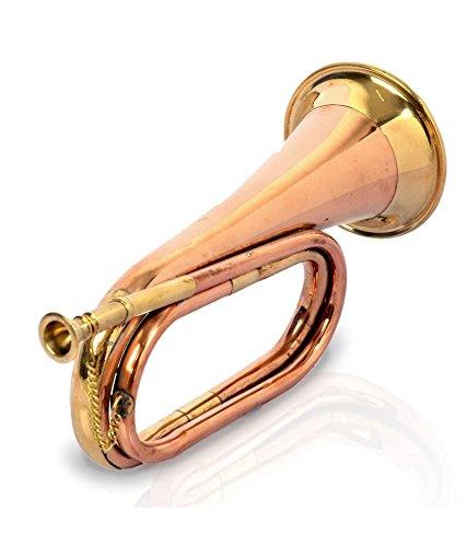 JAI BHOLA-40 Civil War Era Solid Copper Bugle US Military Cavalry Horn ()