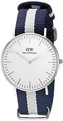 Daniel Wellington Women's 0602DW Glasgow Stainless Steel Watch With Striped Nylon Band