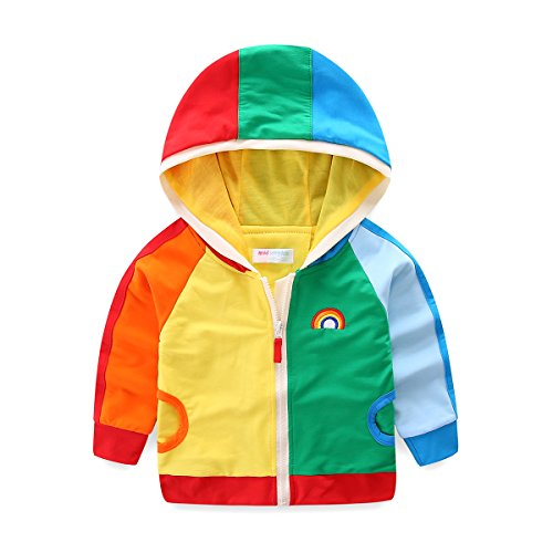 Mud Kingdom Boy Zip Up Hoodie Sweatshirt With Hood Rainbow Patchwork