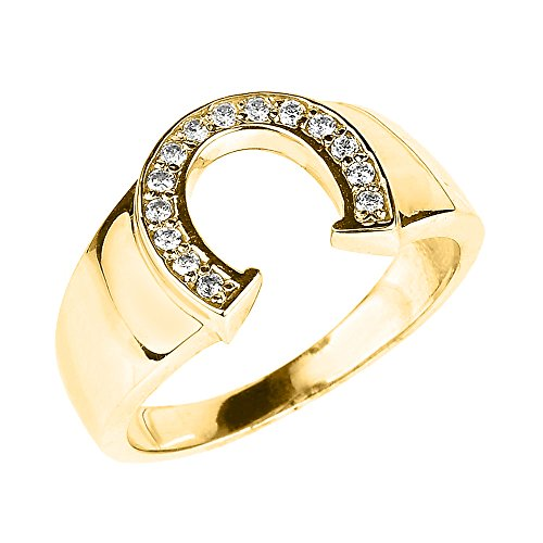Men's 14k Yellow Gold Lucky Diamond Horseshoe Ring (Size 13)