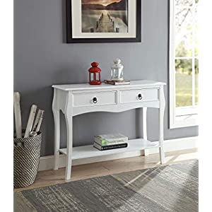 White Finish 2-Tier Console Sofa Table Curved Legs with Two Drawers