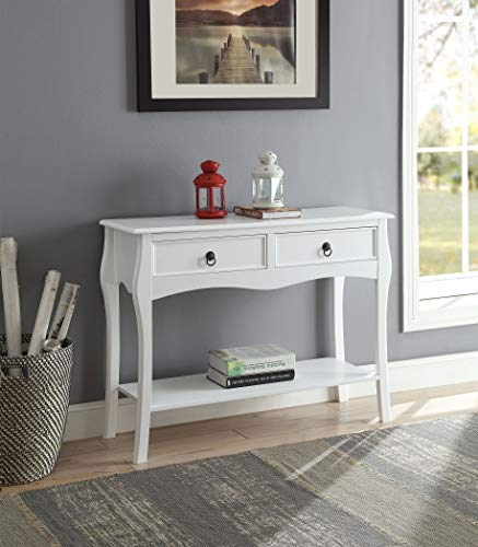 Curved Leg Table - White Finish 2-Tier Console Sofa Table Curved Legs with Two Drawers
