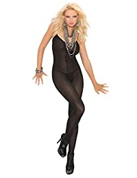 Elegant Moments Women's Opaque Bodystocking with Open Crotch
