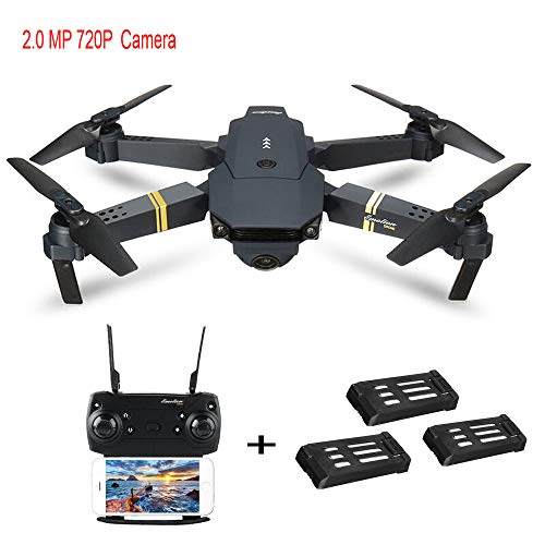 DICPOLIA E58 2MP w/ 720P Camera WiFi FPV Foldable Selfie Drone RC Quadcopter RTF + 3/2 Batteries,Rc Airplane,RC Helicopter,Drones Parts,Outdoor Racing Controllers Helicopter Sky Rover (B)