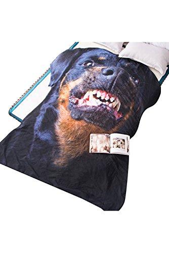 Getime 3D Animal Prints Blanket Bedding Dog Shaped Summer Quilt Rottweiler Dog Comforter Washable Light Quilt by Getime