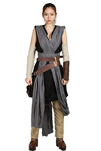 xcoser Rey Costume Deluxe Cool Full Set Tops Belt Tunic Movie Cosplay Women Outfit M by xcoser