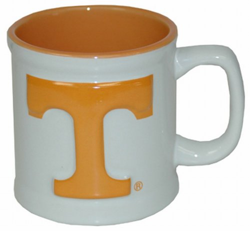 NCAA Tennessee Volunteers Ceramic Relief Logo Mug (White-Orange) by Game Day Outfitters