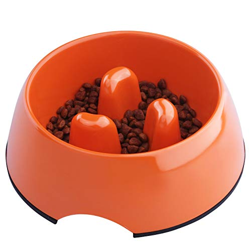 (Super Design Anti-Gulping Dog Bowl Slow Feeder, Interactive Bloat Stop Pet Bowl for Fast Eaters 0.5 Cup Orange)