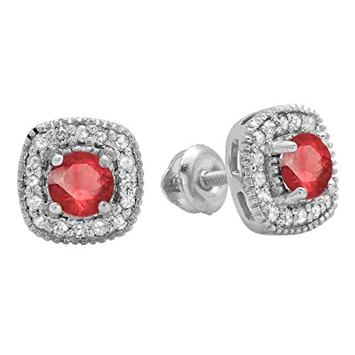 Dazzlingrock Collection Round Cut Ruby White Diamond Ladies Halo Stud Earrings, Sterling Silver