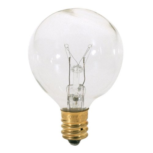 Satco S3846 120V Candelabra Base 25-Watt G12.5 Light Bulb, Clear